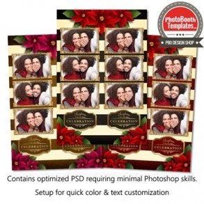 Striped Holiday Poinsettia 3-up Strips