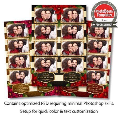 Striped Holiday Poinsettia 4-up Strips 1