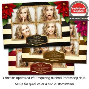 Striped Holiday Poinsettia Postcard