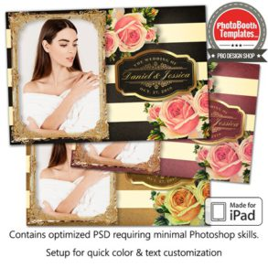 Striped Floral Glam Postcard (iPad)