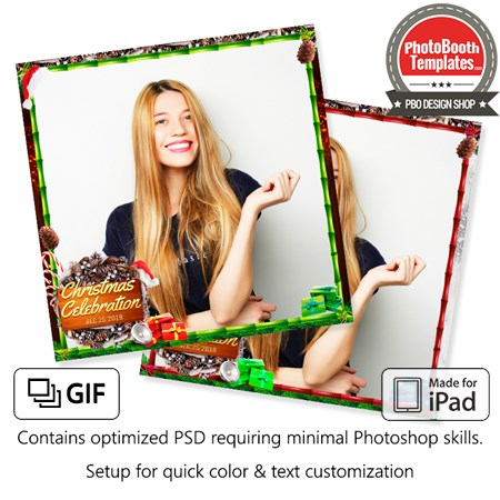 Wooden Christmas Celebration Square (iPad)