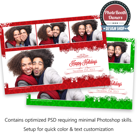 Holiday Flakes, beautiful Christmas photo booth templates