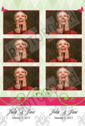 Pink on Green Argyle Photo Strips