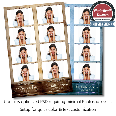Rustic Burlap Wood 4 Up Strips Photo Booth Templates