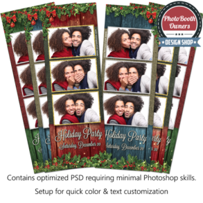 Rustic Holly Holiday Party 3-up Strips
