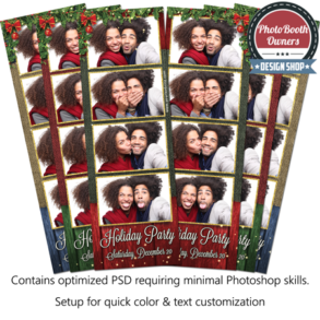 Rustic Holly Holiday Party 4-up Strips