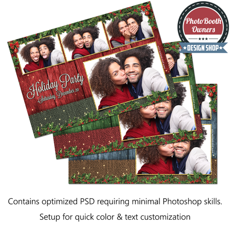 Rustic Holly Holiday Party Postcard 1