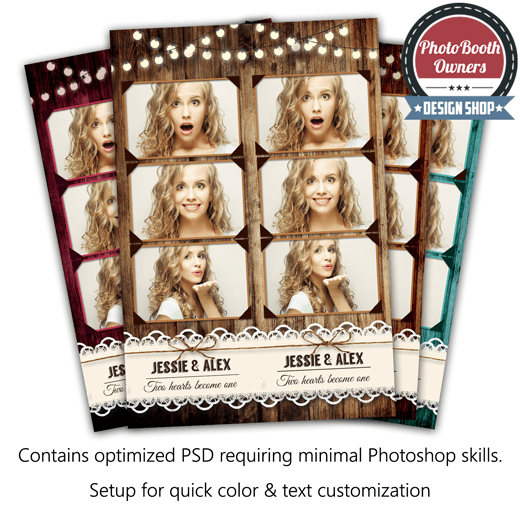 Rustic Lace 3 Up Strips Photo Booth Template