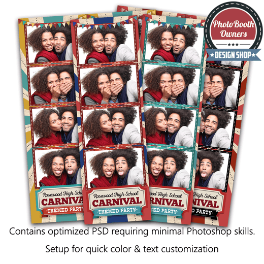 Vintage Carnival 4 Up Strips Photo Booth Template