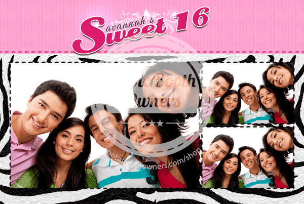 sweet 16 stripes in pink photo booth templates