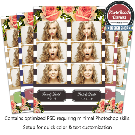 Striped Floral Chic 3-up Strips 1