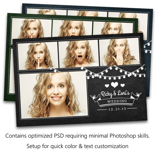 Romantic Lights Chalkboard Postcard Photo Booth Template - Photo booth design templates