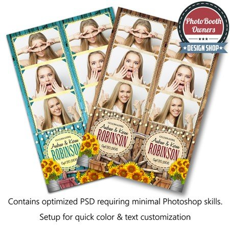 Country Sunflowers 3 Up Strips Photo Booth Template