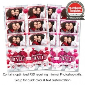 Rosy Romantic Hearts 3-up Strips