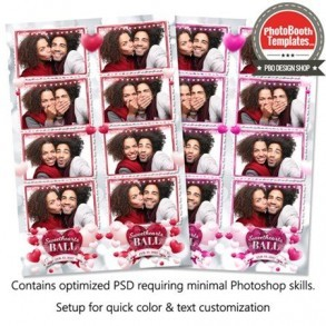 Rosy Romantic Hearts 4-up Strips