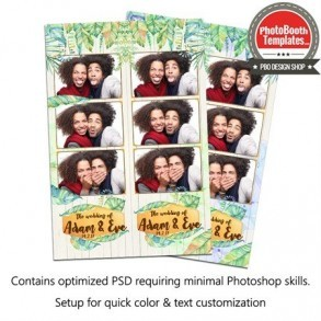 Nice Tropical Wedding Watercolor 3-up Strips