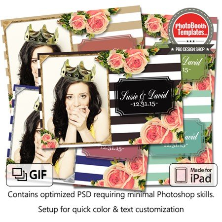 Striped Floral Chic Postcard (iPad)