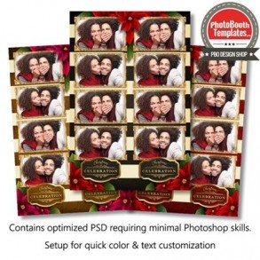 Striped Holiday Poinsettia 4-up Strips