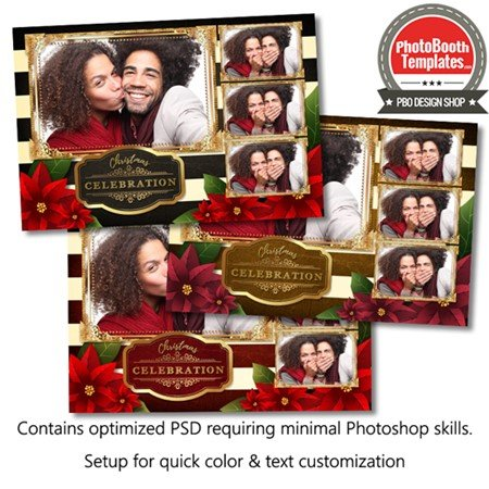Striped Holiday Poinsettia Postcard 1