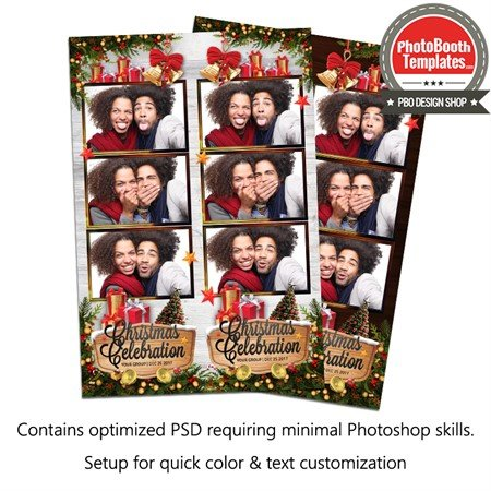 Wooden Joyful Christmas Celebration Strips 3up