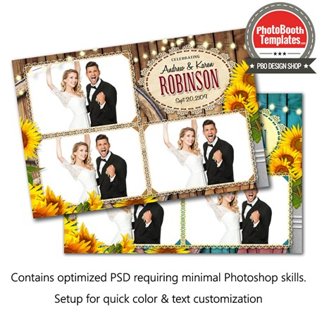 Country Sunflowers Postcard Photo Booth Template