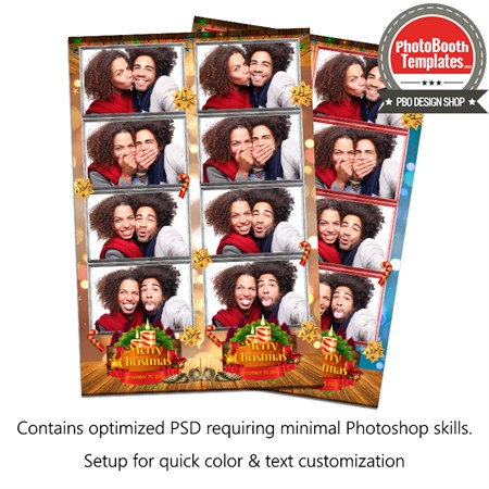 Warm Christmas Celebaration 4-up Strips