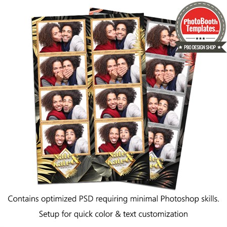 Tropical Gold Palm Leafs 4-up Strips 1