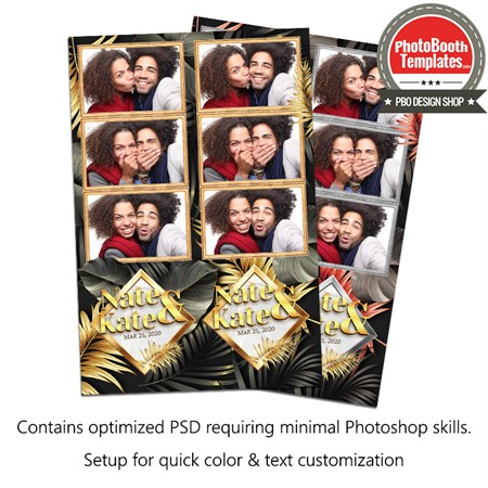 Tropical Gold Palm Leafs 3-up Strips 1