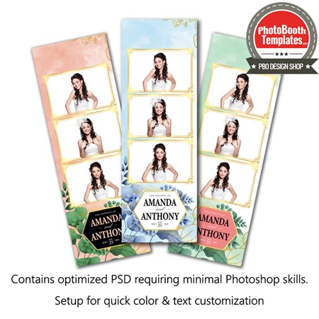 Beautiful Watercolor Floral 3-up Strips 1