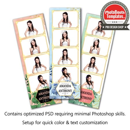 Beautiful Watercolor Floral 4-up Strips 1