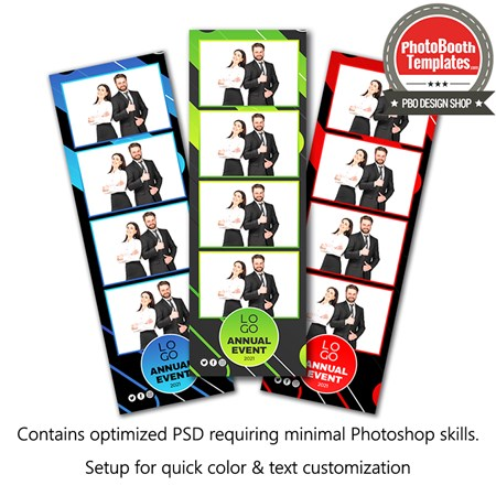 Abstract Corporate Party 4-up Strips 1