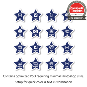 July 4th stars and stripes photo booth ui buttons