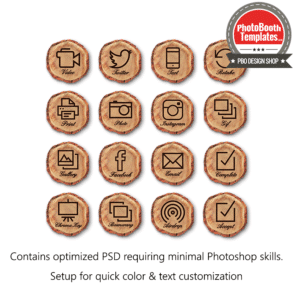 rustic woodland tree slice ui screen buttons