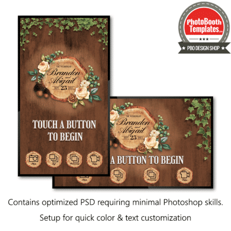 rustic woodland tree slice welcome screen mirror booth hd