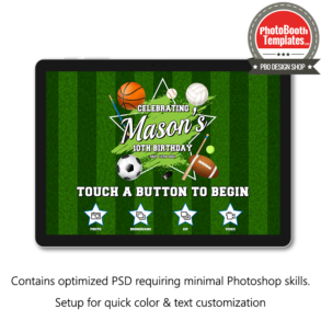 sports celebration photo booth welcome screen surface pro