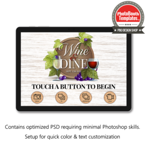 wine celebration photo booth welcome screen surface pro